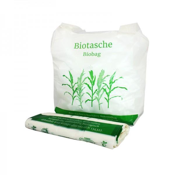 """100 Stück """"Biotasche"""" - die kompostierbare Henkeltragetasche"""