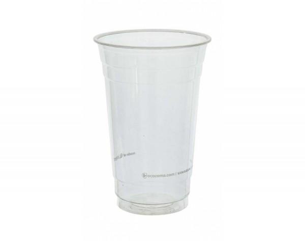 Trinkbecher 600 ml transparent - 50 Stück, kompostierbar aus P.L.A.