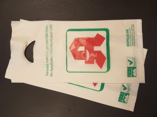 kompostierbare Apotheken Tüten - klein mit Griffloch